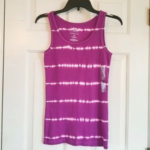NWT Size L & XS ribbed tank top purple dye effect
